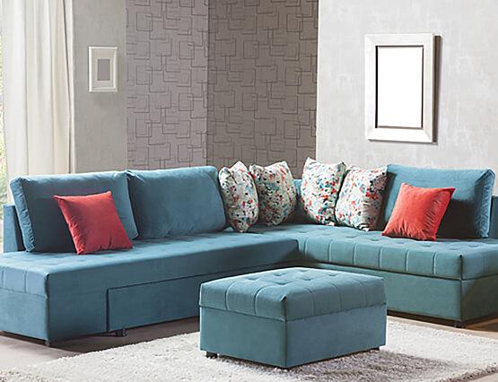 Kleine Wohnung ganz Groß Sofa blau