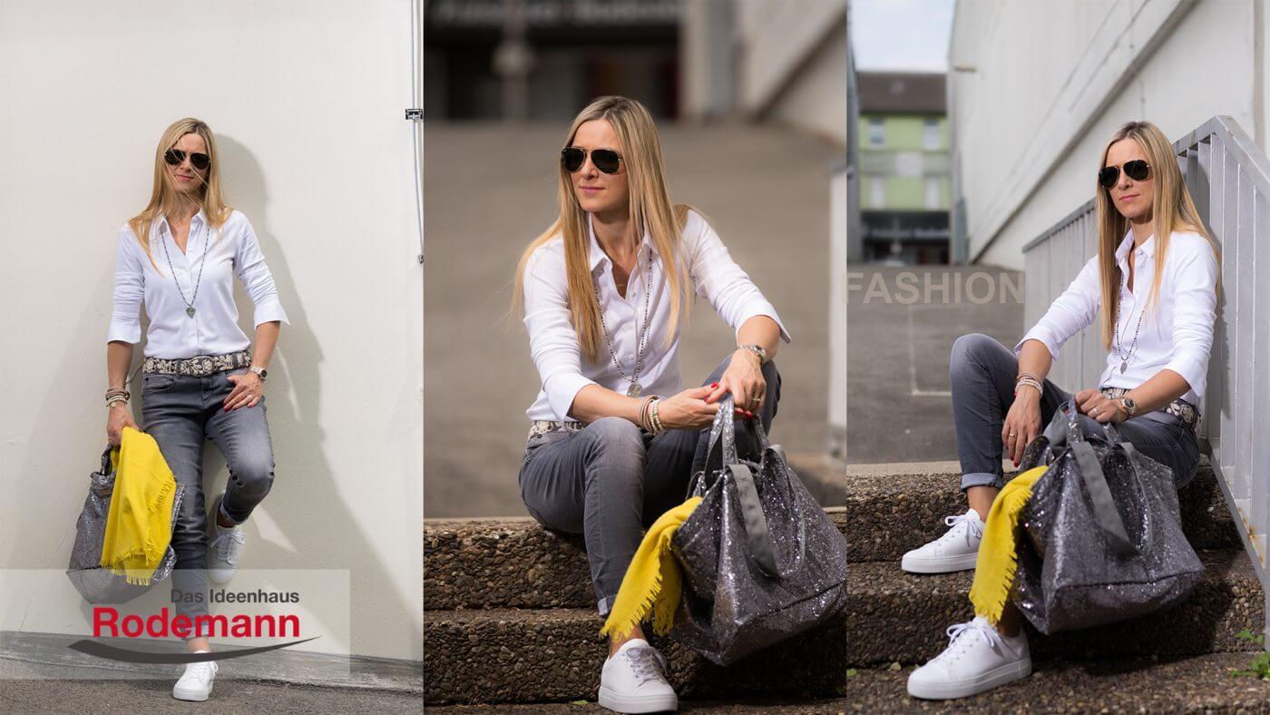 Herbstmode Jeans und Bluse