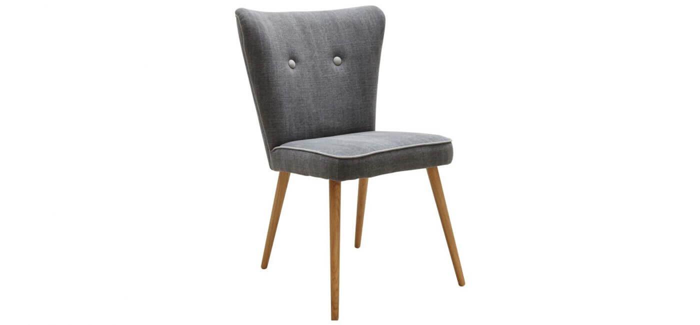 grauer Retro-Stuhl mit Kedernaht Natura Flint - Möbel Rodemann
